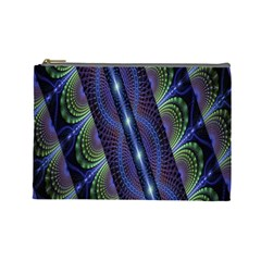 Fractal Blue Lines Colorful Cosmetic Bag (Large)