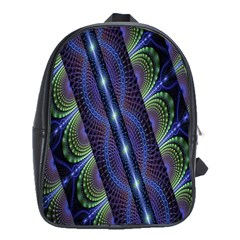 Fractal Blue Lines Colorful School Bags(Large)