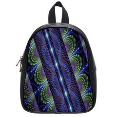 Fractal Blue Lines Colorful School Bags (small)