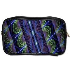 Fractal Blue Lines Colorful Toiletries Bags 2-Side