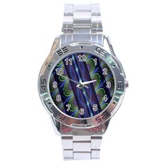 Fractal Blue Lines Colorful Stainless Steel Analogue Watch
