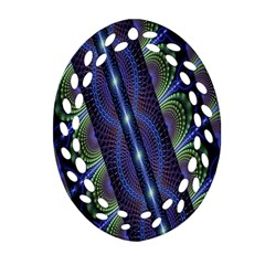 Fractal Blue Lines Colorful Oval Filigree Ornament (Two Sides)