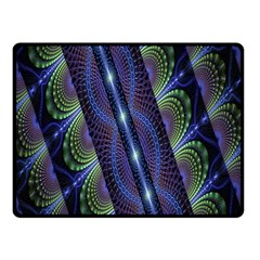 Fractal Blue Lines Colorful Double Sided Fleece Blanket (small)