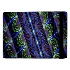 Fractal Blue Lines Colorful Samsung Galaxy Tab Pro 12 2  Flip Case
