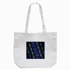 Fractal Blue Lines Colorful Tote Bag (White)
