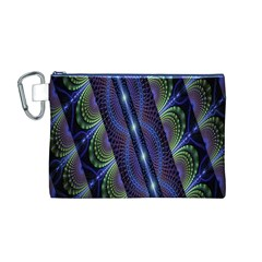 Fractal Blue Lines Colorful Canvas Cosmetic Bag (M)