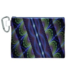 Fractal Blue Lines Colorful Canvas Cosmetic Bag (xl)