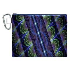 Fractal Blue Lines Colorful Canvas Cosmetic Bag (xxl)