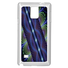 Fractal Blue Lines Colorful Samsung Galaxy Note 4 Case (White)