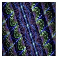 Fractal Blue Lines Colorful Large Satin Scarf (Square)