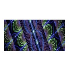 Fractal Blue Lines Colorful Satin Wrap