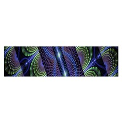 Fractal Blue Lines Colorful Satin Scarf (oblong)