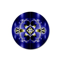 Fractal Fantasy Blue Beauty Rubber Round Coaster (4 pack)