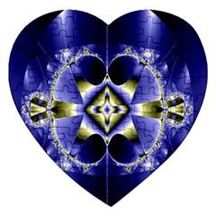 Fractal Fantasy Blue Beauty Jigsaw Puzzle (heart)