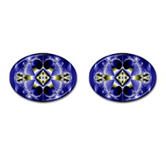 Fractal Fantasy Blue Beauty Cufflinks (Oval)