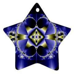 Fractal Fantasy Blue Beauty Star Ornament (Two Sides)