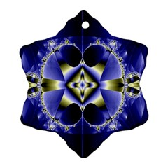 Fractal Fantasy Blue Beauty Snowflake Ornament (two Sides)
