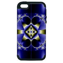 Fractal Fantasy Blue Beauty Apple iPhone 5 Hardshell Case (PC+Silicone)