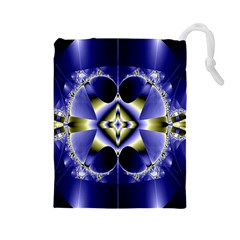 Fractal Fantasy Blue Beauty Drawstring Pouches (large)