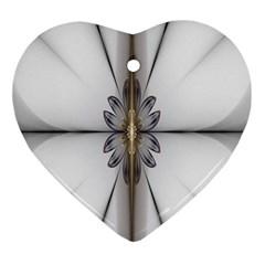 Fractal Fleur Elegance Flower Ornament (Heart)