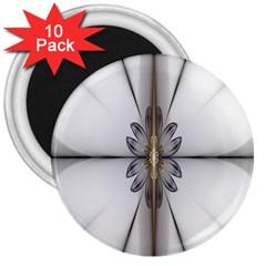 Fractal Fleur Elegance Flower 3  Magnets (10 pack)