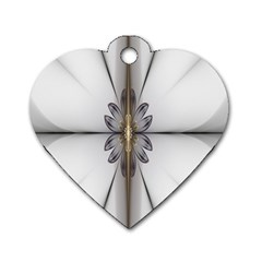 Fractal Fleur Elegance Flower Dog Tag Heart (One Side)
