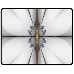 Fractal Fleur Elegance Flower Double Sided Fleece Blanket (medium)
