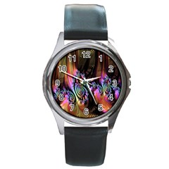 Fractal Colorful Background Round Metal Watch