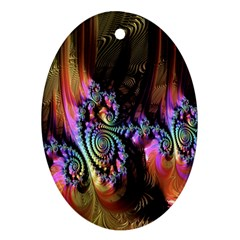 Fractal Colorful Background Ornament (oval)