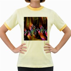 Fractal Colorful Background Women s Fitted Ringer T Shirts