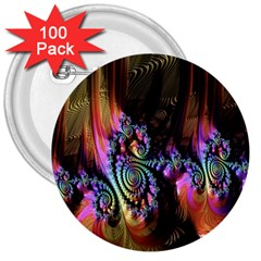 Fractal Colorful Background 3  Buttons (100 pack)