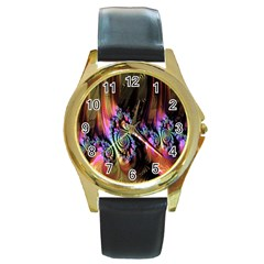 Fractal Colorful Background Round Gold Metal Watch
