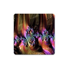 Fractal Colorful Background Square Magnet