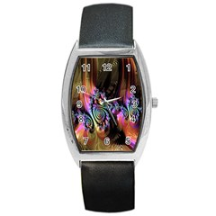 Fractal Colorful Background Barrel Style Metal Watch