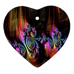 Fractal Colorful Background Heart Ornament (Two Sides)