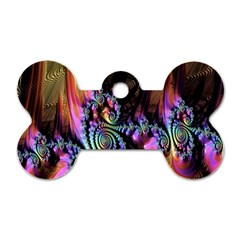 Fractal Colorful Background Dog Tag Bone (Two Sides)