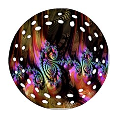 Fractal Colorful Background Round Filigree Ornament (Two Sides)