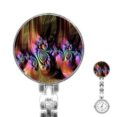 Fractal Colorful Background Stainless Steel Nurses Watch