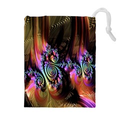 Fractal Colorful Background Drawstring Pouches (Extra Large)