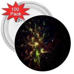 Fractal Flame Light Energy 3  Buttons (100 pack)