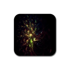 Fractal Flame Light Energy Rubber Square Coaster (4 Pack)