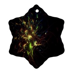 Fractal Flame Light Energy Snowflake Ornament (Two Sides)