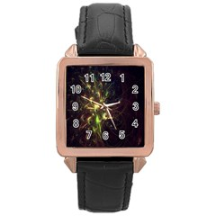 Fractal Flame Light Energy Rose Gold Leather Watch