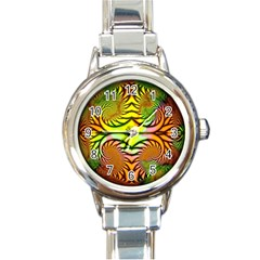 Fractals Ball About Abstract Round Italian Charm Watch