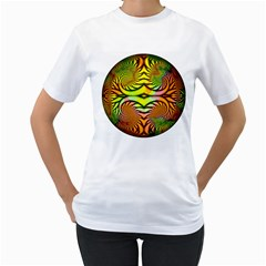 Fractals Ball About Abstract Women s T-Shirt (White) (Two Sided)