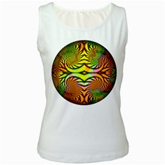 Fractals Ball About Abstract Women s White Tank Top