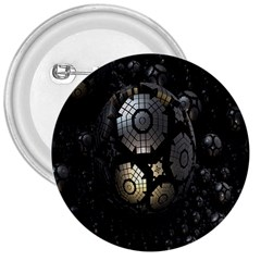 Fractal Sphere Steel 3d Structures 3  Buttons