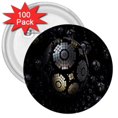 Fractal Sphere Steel 3d Structures 3  Buttons (100 pack)