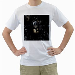 Fractal Sphere Steel 3d Structures Men s T-Shirt (White) (Two Sided)