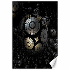 Fractal Sphere Steel 3d Structures Canvas 24  x 36